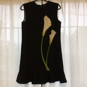 Women's Black Dress with Arum Lily Graphic